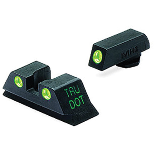 MEPROLIGHT LTD Tru-Dot Tritium Night Sight Set for Glock 10mm/.45ACP (Green / Green)