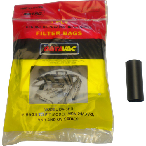 METROVAC Disposable Filter Bags (5) with Adaptor Tube