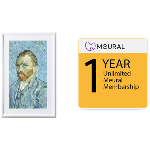 Meural Leonora Digital Art Canvas (White) with 1-Year Unlimited Art Library Membership