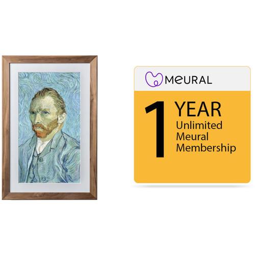 Meural Winslow Digital Art Canvas (Walnut) with 1-Year Unlimited Art Library Membership