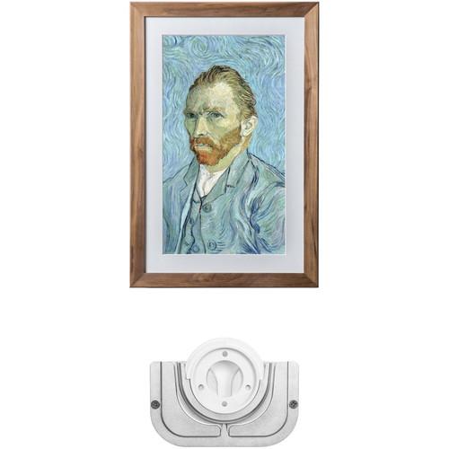 Meural Leonora Digital Art Canvas (Walnut) with Swivel Mount Kit