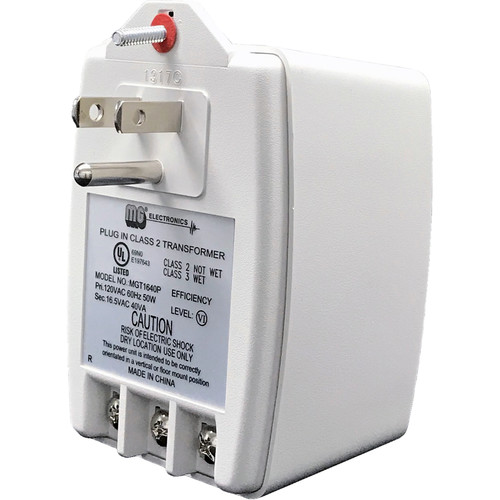 MG Electronics 16.5 VAC 40VA Class II Power Supply with Screw Terminal Output and Auto-Resetting PTC Fuse