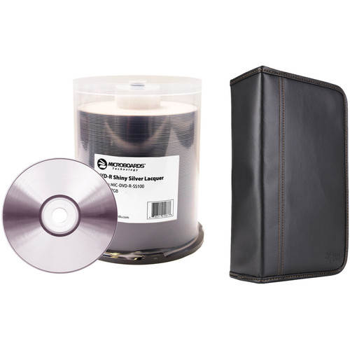 Microboards 4.7GB Shiny Silver DVD-R 16x Disc Kit with 100-Capacity Disc Wallet