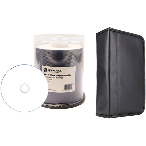 Microboards 4.7GB White Inkjet DVD-R 16x Disc Kit with 100-Capacity Disc Wallet