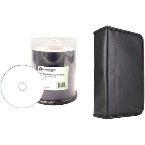 Microboards 4.7GB White Thermal-Printable DVD-R 16x Disc Kit with 100-Capacity Disc Wallet