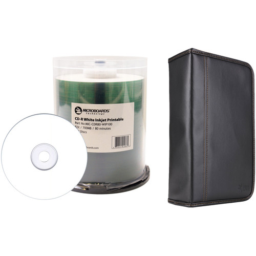 Microboards 700MB CD-R White Inkjet 52x Disc Kit with 100-Capacity Disc Wallet