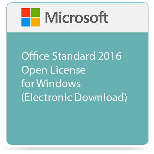 Microsoft Office Standard 2016 Open License for Windows (Electronic Download)