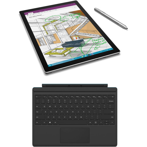 "Microsoft 12.3"" Surface Pro 4 128GB Multi-Touch Tablet, Black Type Cover, and Rugged Case Kit"