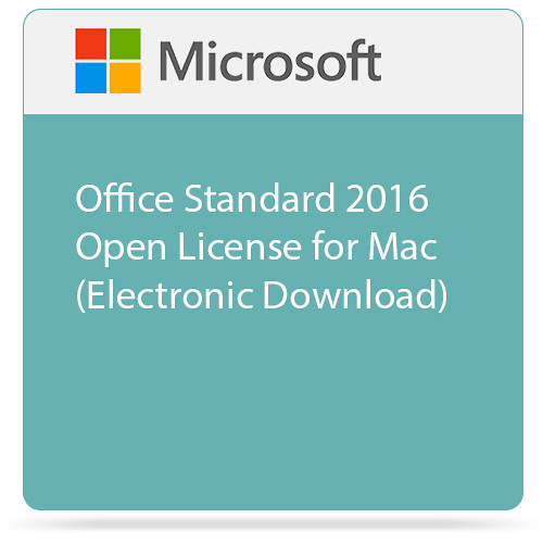 Microsoft Office Standard 2016 Open License for Mac (Electronic Download)