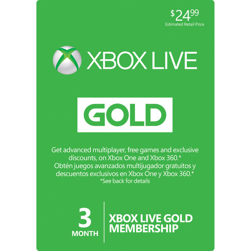 Microsoft Xbox Live 3-Month Gold Membership Card