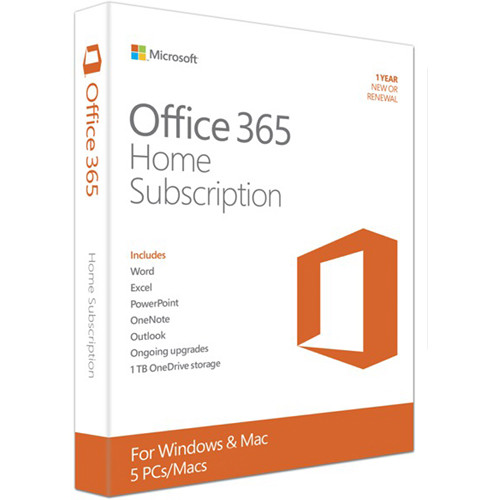Microsoft Office 365 Home (5 PC or Mac Licenses / 1-Year Subscription / Product Key Code / Boxed)