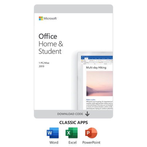 Microsoft Office Home and Student 2019 (1-User License, Product Key Code)