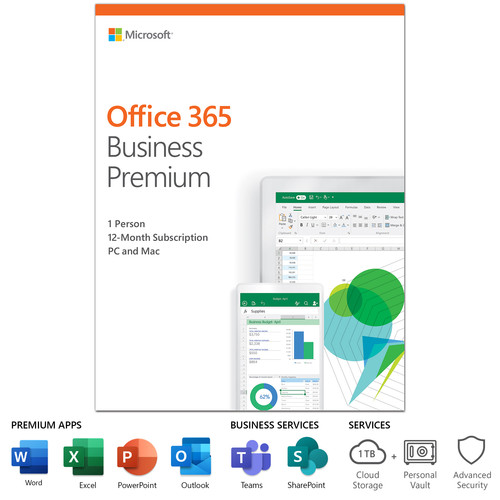 Microsoft Office 365 Bus Prem Retail English 1-Year Subscription NA Only Medialess