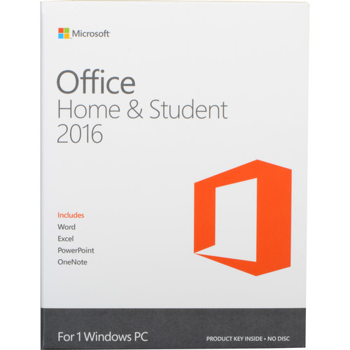 Microsoft Office Home & Student 2016 for Windows Kit (1-User License, Product Key Code)