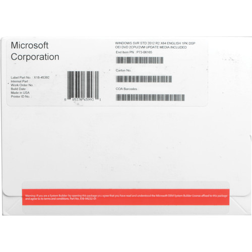 Microsoft Server 2012 R2 Standard 64-Bit License & DVD Media