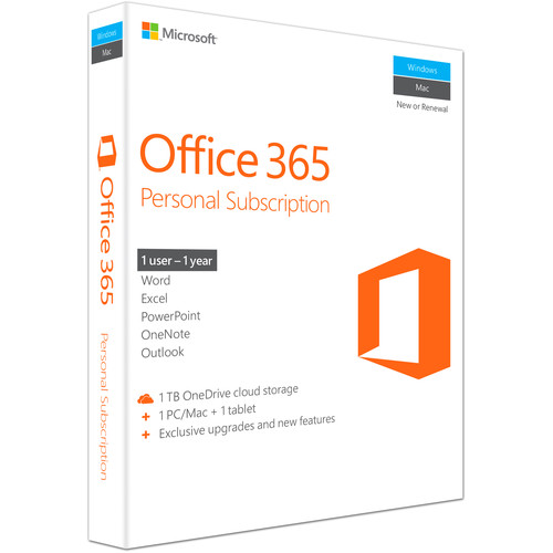 Microsoft Office 365 Personal (1 PC or Mac License / 1-Year Subscription / Product Key Code / Boxed)