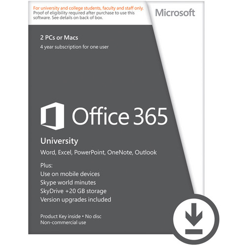 Microsoft Office 365 University 2013 (Two 4-Year PC or Mac Licenses, Download)