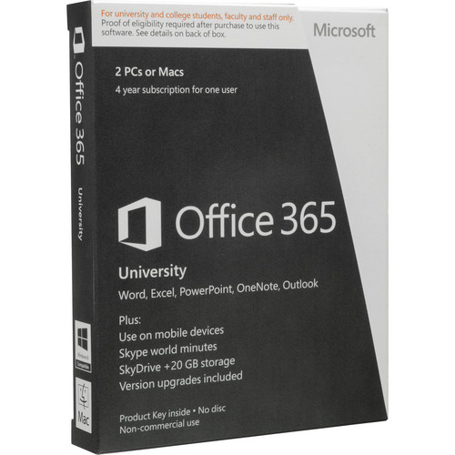 Microsoft Office 365 University (Two 4-Year PC or Mac Licenses, Product Key)
