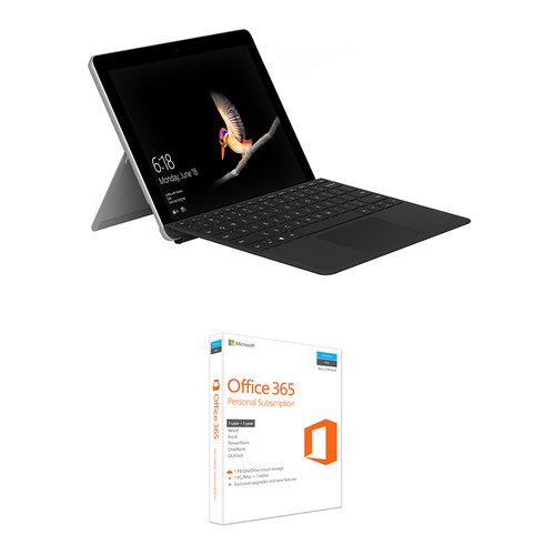 """Microsoft Surface Go 10"""" 128GB Multi-Touch Tablet Kit with Black Surface Go Type Cover & Microsoft Office 365 Personal 1-Year Subscription"""