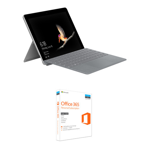 "Microsoft Surface Go 10"" 128GB Multi-Touch Tablet Kit with Platinum Surface Go Type Cover & Microsoft Office 365 Personal 1-Year Subscription"