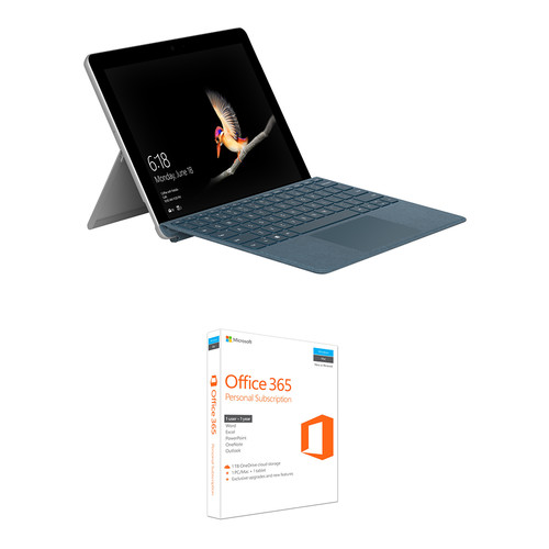 "Microsoft Surface Go 10"" 128GB Multi-Touch Tablet Kit with Cobalt Blue Surface Go Type Cover & Microsoft Office 365 Personal 1-Year Subscription"