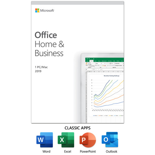 Microsoft Office Home and Business 2019 (1-User License, Product Key Code)