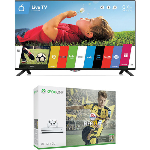 "Microsoft Xbox One S FIFA 17 Bundle and LG UB8200 Series 49"" Class 4K Smart LED TV Kit"