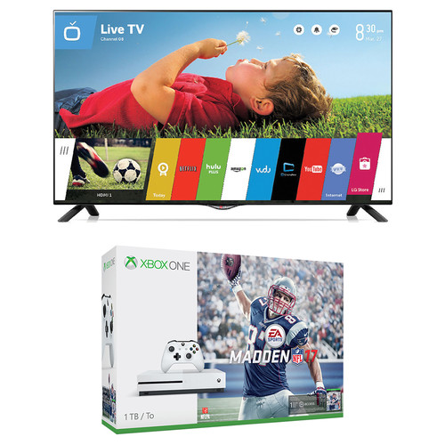 "Microsoft Xbox One S Madden NFL 17 Bundle and LG UB8200 Series 49"" Class 4K Smart LED TV Kit"
