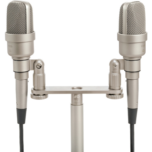 Microtech Gefell M 930 Large-Diaphragm Cardioid Condenser Microphone (Matched Pair, Satin Nickel, ORTF Bracket)
