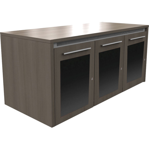 "Middle Atlantic C5 Series 27"" Deep 3 Bay Credenza Rack with Plexiglass Door (HPL Finish)"