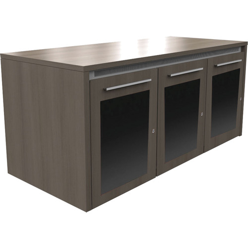 "Middle Atlantic C5 Series 27"" Deep 3 Bay Credenza Rack with Plexiglass Door (Veneer Finish)"