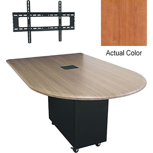 "Middle Atlantic Hub 84"" Bullet Shaped Work Surface (High Pressure Laminate Finish, Hazelnut Maple)"