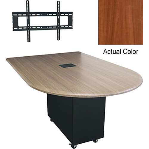 """Middle Atlantic Hub 84"""" Bullet Shaped Work Surface (Thermolaminate Finish, Sequoia)"""