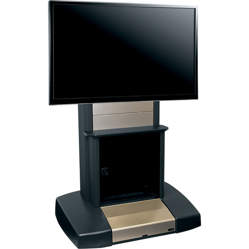 """Middle Atlantic Mobile Videoconferencing/Presentation Cart for a Single 42-80"""" Display with 12 Rack Spaces (Natural Nickel, International Version)"""