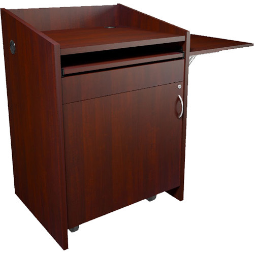 Middle Atlantic L2 Series Lectern with Connectivity & Flip Shelf (Grained Dark Cherry)