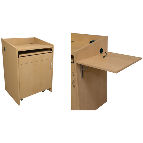 Middle Atlantic L2 Series Lectern with Connectivity & Flip Shelf (Knotted Maple)