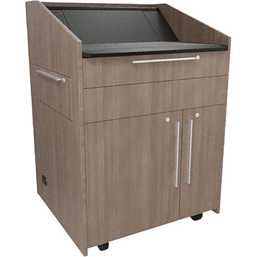 """Middle Atlantic L5 Lectern Turret Top (33 x 31 x 39"""" Sota Style, High-Pressure Laminate, 5th Ave Elm, 2 Drawers)"""