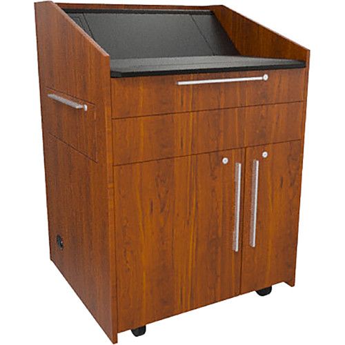 "Middle Atlantic L5 Lectern Turret Top (33 x 31 x 39"" Sota Style, High-Pressure Laminate, Glamour Cherry, 2 Drawers)"