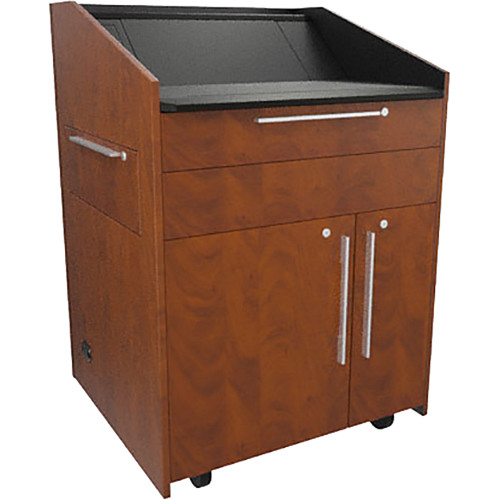 """Middle Atlantic L5 Lectern Turret Top (33 x 31 x 39"""" Sota Style, Thermolaminate, Auburn Stream, 2 Drawers)"""