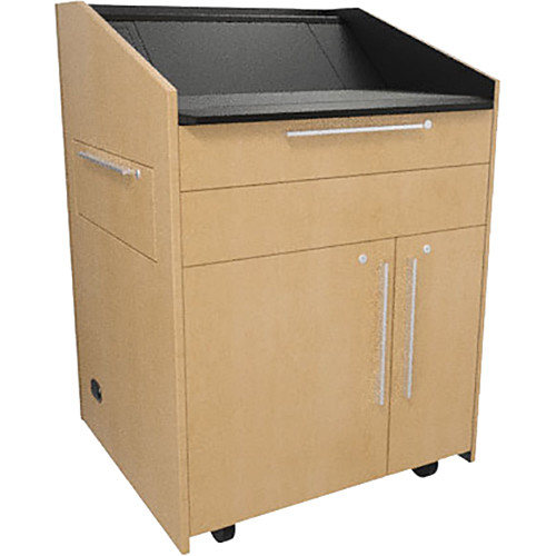 """Middle Atlantic L5 Lectern Turret Top (33 x 31 x 39"""" Sota Style, Thermolaminate, Native Maple, 2 Drawers)"""