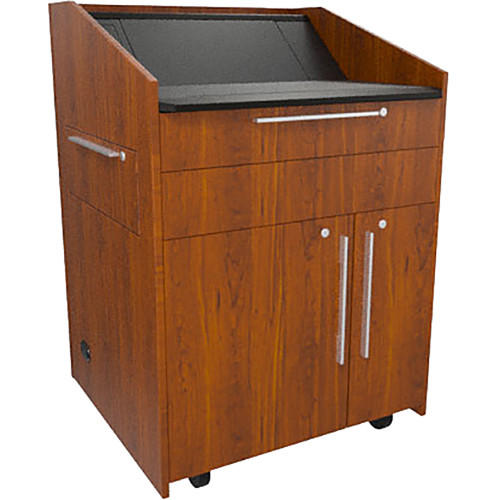 """Middle Atlantic L5 Lectern Flat Top (33 x 31 x 39"""" Sota Style, High-Pressure Laminate, Glamour Cherry, 2 Drawers)"""