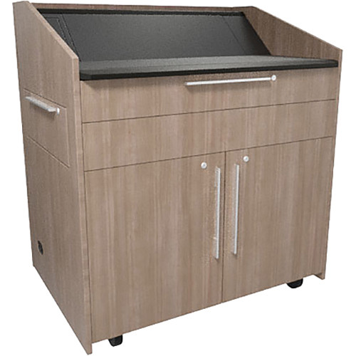 "Middle Atlantic L5 Lectern Turret Top (43 x 31 x 39"" Sota Style, High-Pressure Laminate, 5th Ave Elm, 2 Drawers)"
