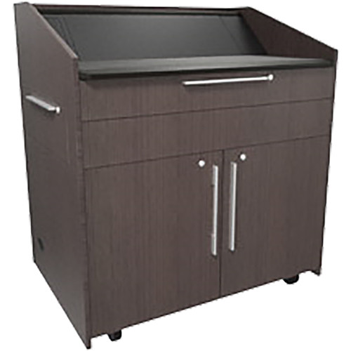 "Middle Atlantic L5 Lectern Turret Top (43 x 31 x 39"" Sota Style, High-Pressure Laminate, Asian Night, 2 Drawers)"