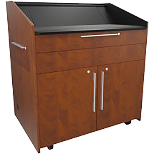 """Middle Atlantic L5 Lectern Turret Top (43 x 31 x 39"""" Sota Style, Thermolaminate, Auburn Stream, 2 Drawers)"""