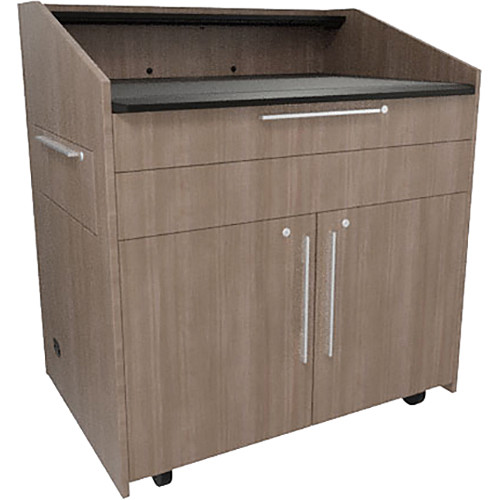 "Middle Atlantic L5 Lectern Flat Top (43 x 31 x 39"" Sota Style, High-Pressure Laminate, 5th Ave Elm, 2 Drawers)"