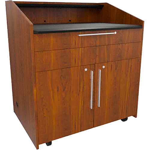 """Middle Atlantic L5 Lectern Flat Top (43 x 31 x 39"""" Sota Style, High-Pressure Laminate, Glamour Cherry, 2 Drawers)"""