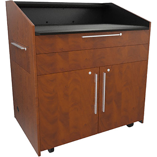 """Middle Atlantic L5 Lectern Flat Top (43 x 31 x 39"""" Sota Style, Thermolaminate, Auburn Stream, 2 Drawers)"""