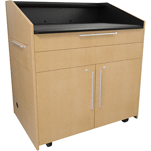 """Middle Atlantic L5 Lectern Flat Top (43 x 31 x 39"""" Sota Style, Thermolaminate, Native Maple, 2 Drawers)"""