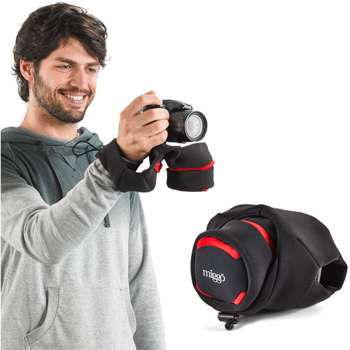 miggo Grip&Wrap for Bridge, Superzoom, Large Mirrorless Camera (Red-Black)