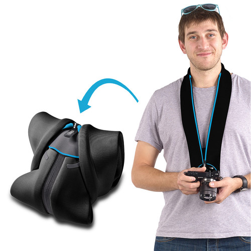 miggo Strap and Wrap for Mirrorless and Compact System Cameras (Black and Blue)